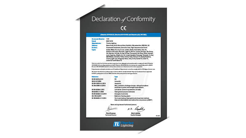 Thorlux Company Certification